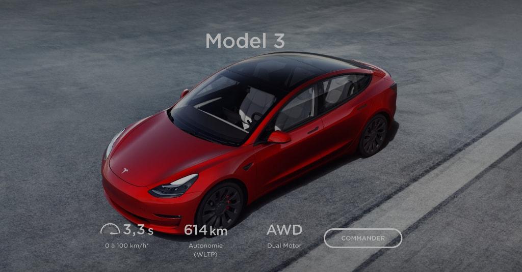 Nouvelle batterie Tesla Model 3 2021 612km