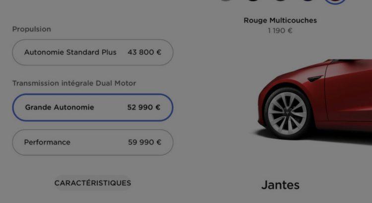 Tarifs Tesla Model 3 2021 Avril